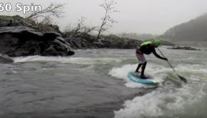 Badfish Cobra SUP/Paddleboard Tricks - Spin 360, Shoveit - River Surfing - Potomac River