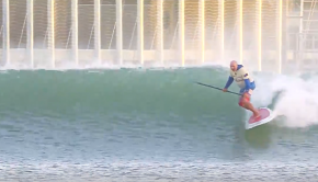 Ian Cairns SUP surfing Kelly Slater's wave pool