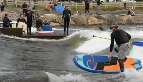 Hala MilliGram surfing at the Bend Whitewater Park