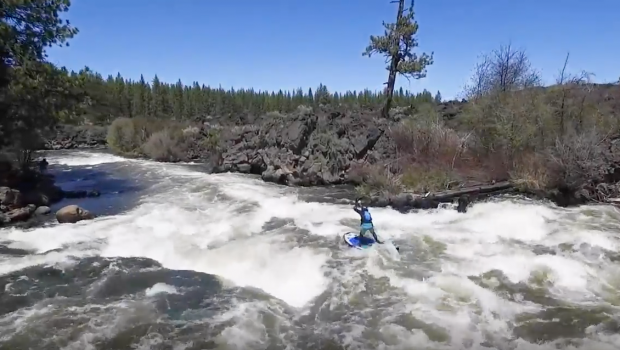 """Paul Clark SUPPAUL running the """"Notch"""" at Big Eddy on the 2017 Hala Atcha 9.6 isup paddle board."""