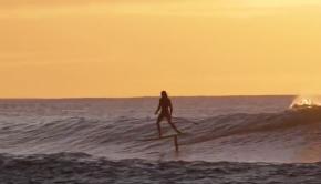 SUP foil surfing dawn patrol