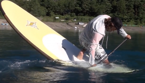 Standup paddleboarding SUP Freestyle サップ フリースタイル Training in Lake Motosu Japan