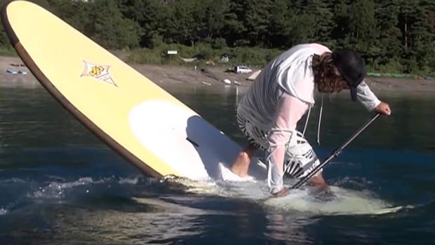 Standup paddleboarding SUP Freestyle サップ フリースタイル Training in Lake Motosu Japan