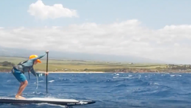 Maui 9 Year Old Bobo Gallagher Charges on SUP Maliko Run with Suzie Cooney