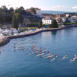SUP & SURF NYON PADDLE RACE!! 4K Drone video