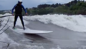 Sup Surfing Huge River Wave