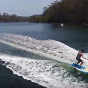 Team Riders Skyla Rayner & Nathan Cross testing the Blue Planet Easy Foiler on the wake. Foils are designed to lift the board out of the water, eliminating all board related drag, allowing surfers to catch bumps, wake and swells that normally could not be ridden by traditional board design.
