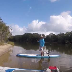SUP fishing Lake Currimundi with Melly the Bikini Girl.