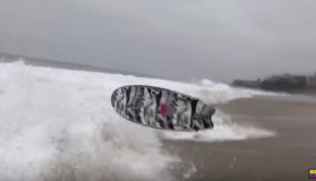 GNARLY surfboard AIRS in shorebreak!!
