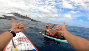 Approaching a Big Ferry Stand Up paddle