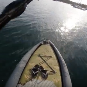 Testing the stability of the Aqua Marina Drift Stand Up Paddle Board