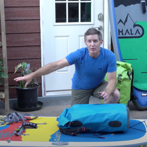 Paul Clark shows Sup World Mag how he rigs a his sup board to take on Self-support multi-day paddling trips.