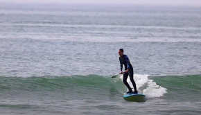 alice arutkin surfing a wave at her local spot