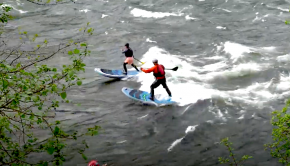 Follow Paul Clark, Alan Pace and Katelyn Kazen riding out this epic river wave on their boards!